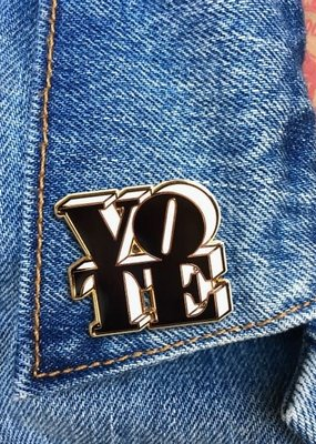 The Found Enamel Pin Vote Black/White