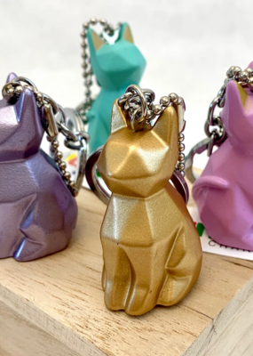 Geometric Cat Charm Keyring