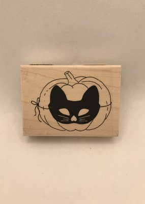 Stamp Pumpkin With Cat Mask