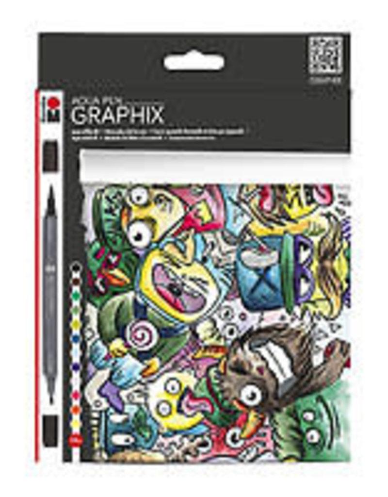 Marabu Graphix Aqua Pen 12 Color Set Mega Mash