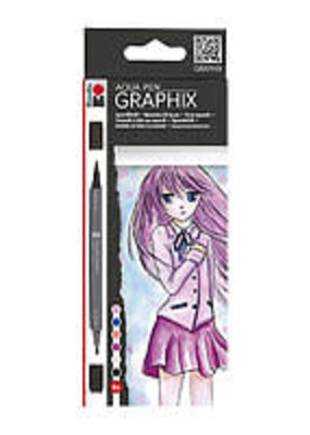 Marabu Graphix Aqua Pen 6 Color Set Ma Ke Manga