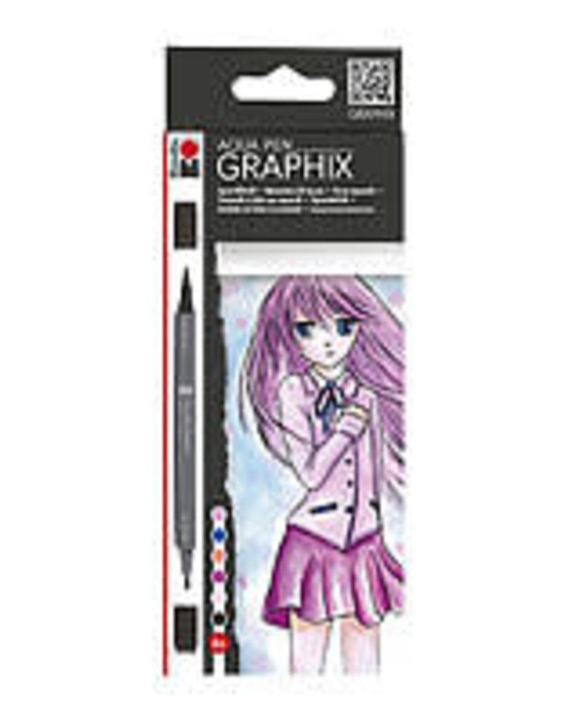 Marabu Graphix Aqua Pen 6 Color Set Ma Ke Manga