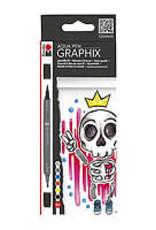 Marabu Graphix Aqua Pen 6 Color Set King of Bubblegum