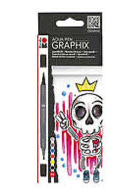Marabu Graphix Aqua Pen 6 Color Set King of Bubblegum