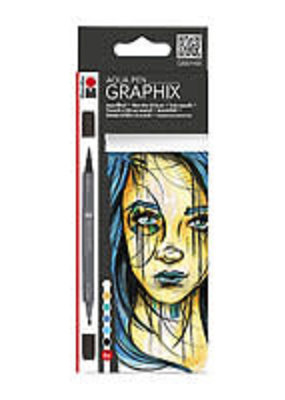 Marabu Graphix Aqua Pen 6 Color Set Metropolitan