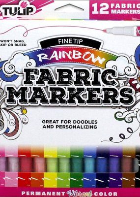 Tulip Fabric Markers Fine Tip Rainbow 12 Pack