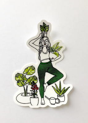 Christa Pierce Sticker Rad Woman Yoga And Plants