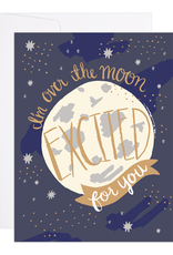 9th Letter Press Card Over the Moon