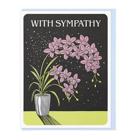 Lucky Horse Press Card With Sympathy Orchids