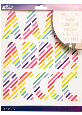 Sticko Stickers XL Alphabet Rainbow Stripe