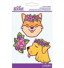 Sticko Stickers Floral Dog Epoxy