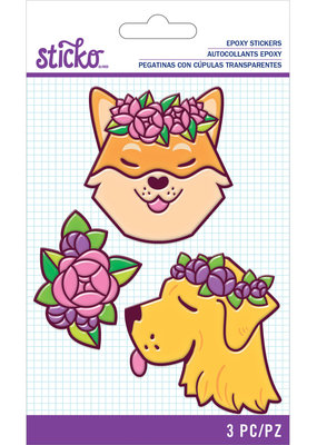 Sticko Stickers Floral Dog Epoxy