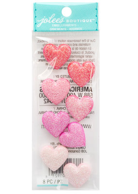 Glitter Heart Embellishments