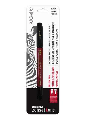 Zebra Zebra Brush Pen Double Ended Black Fine/Medium