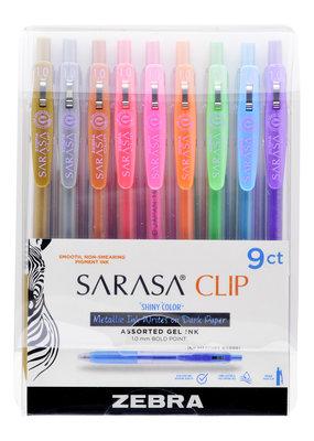 Zebra Zebra Sarasa Clip Gel Retractable Pen 9 Color Shiny Pen Set