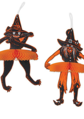 Vintage Halloween Tango Witch And  Cat