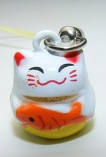 Bell Charm Lucky Cat With Fish