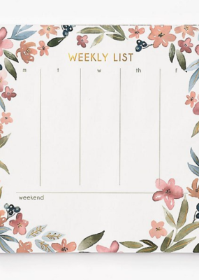 Waste Not List Pad Weekly Oversized Floral