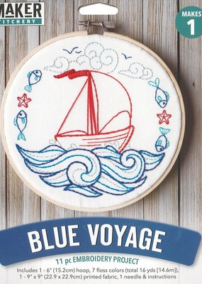 Leisure Arts Mini Maker Blue Voyage Embroidery Kit