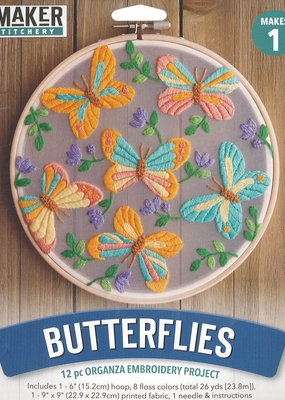 Leisure Arts Mini Maker Organza Embroidery Kit Butterflies