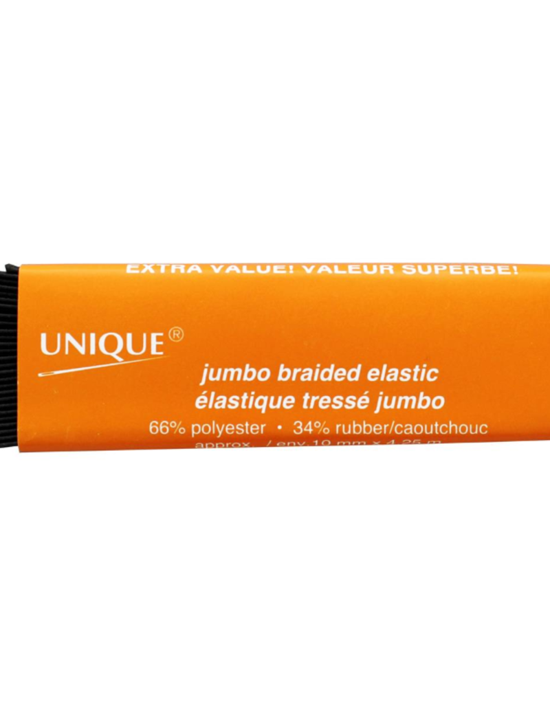 "Unique Elastic Braid 1/4""x 4.6yd Black"