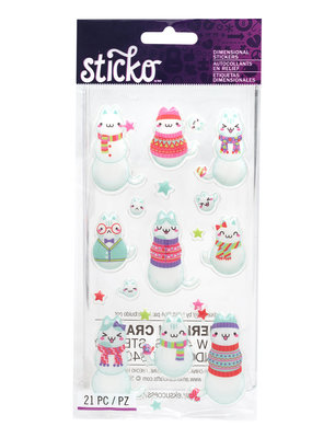 Sticko Stickers Dimensional Cat Snowmen