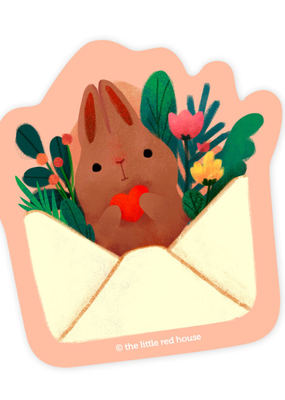 The Little Red House Sticker Brown Bunny Mail