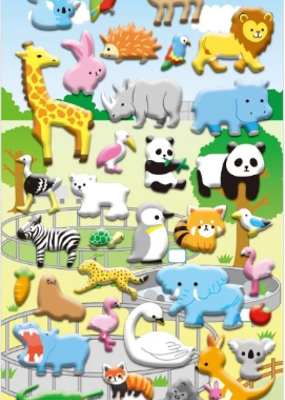 Sticker Puffy Zoo