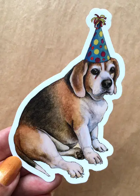 Amy Rose Moore Illustration Sticker Party Beagle Dog