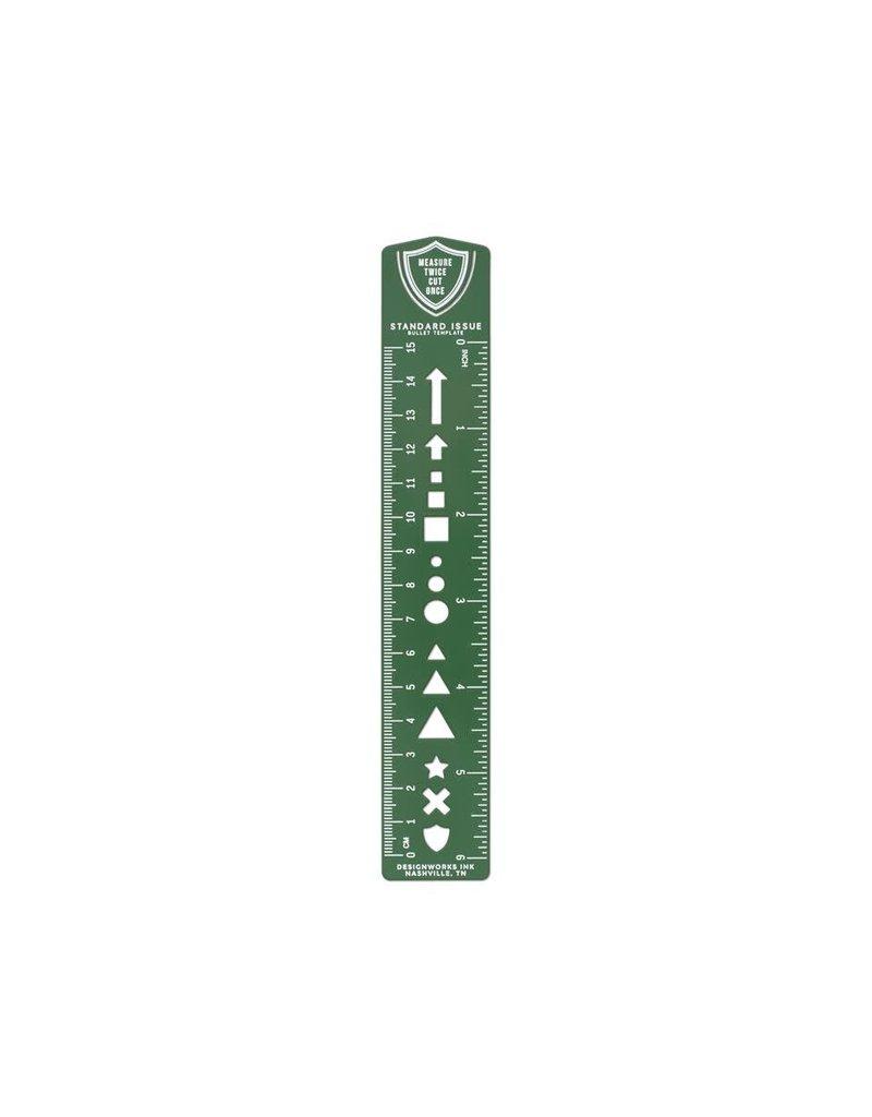 Designworks Ink Bullet Template Ruler Bookmark Green