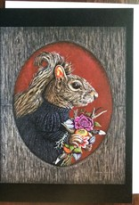 Kathleen Powers Card Goth Squirrel With Bouquet