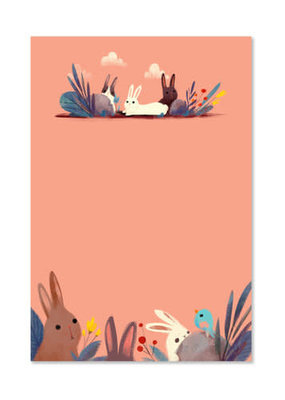 The Little Red House Notepad Pink Bunnies