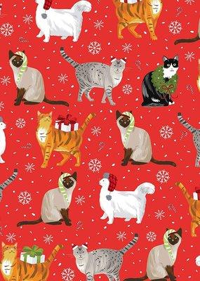Jillson & Roberts Gift Wrap Roll Christmas Cats