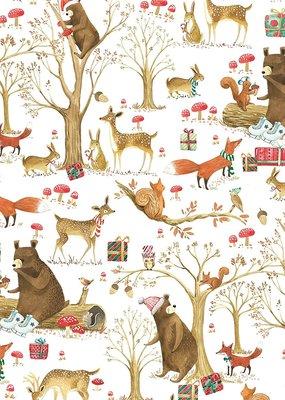 Jillson & Roberts Gift Wrap Roll Christmas Forest