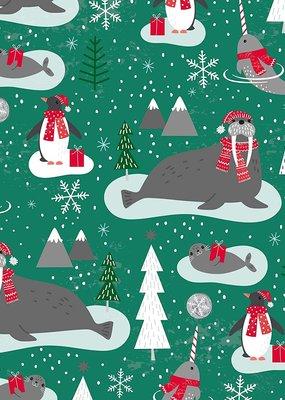 Jillson & Roberts Gift Wrap Jumbo Roll Walrus & Narwhal