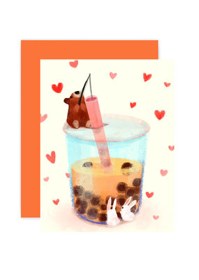 The Little Red House Card Boba