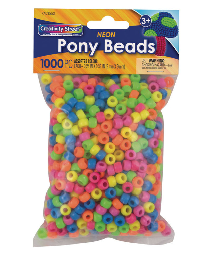 Creativity Street Pony Beads Assorted Neon Colors 1000 Pack