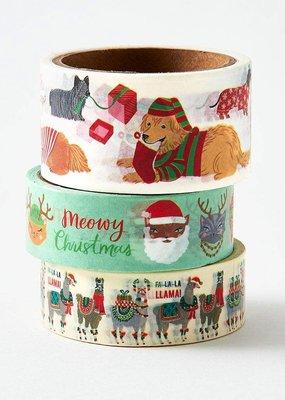 Waste Not Holiday Dog, Cat & Llama Washi Set of 3