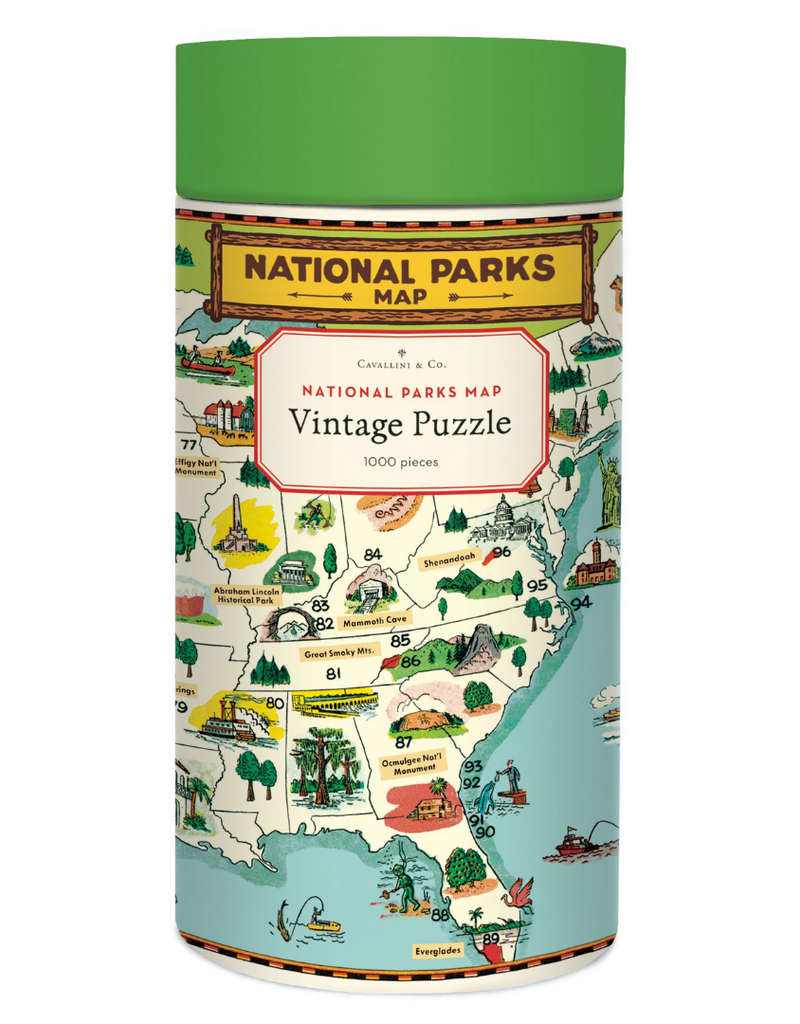 Cavallini 1000 Piece Jigsaw Puzzle National Parks Map
