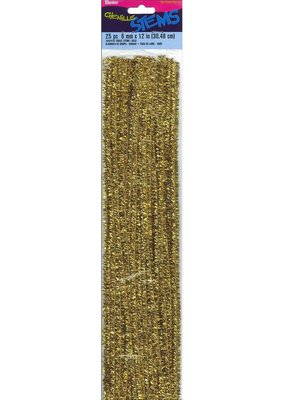 "Darice Chenille Stem 6mm 12"" Tinsel Gold 25pc"