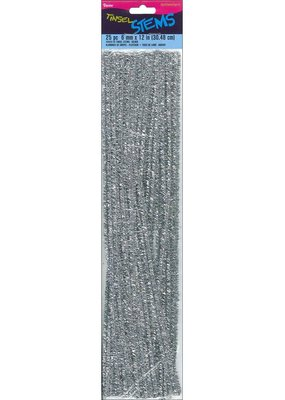 "Darice Chenille Stem 6mm 12"" Tinsel Silver 25pc"
