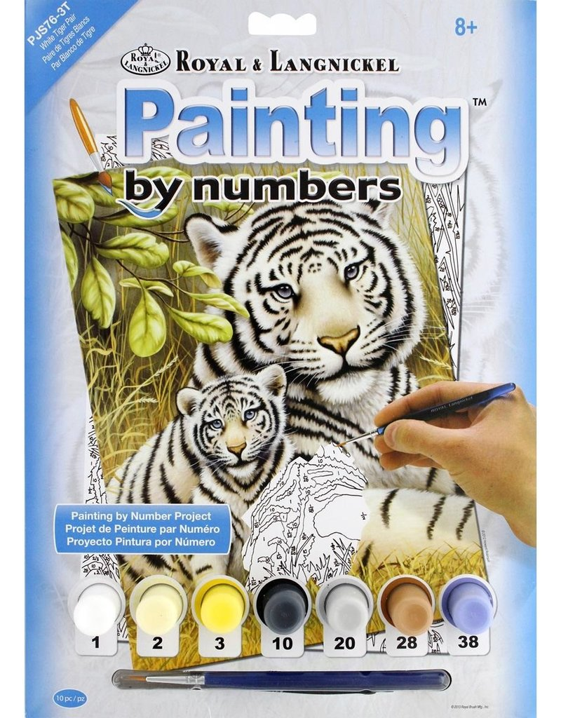 Royal & Langnickel Paint by Numbers Kit White Tiger Pair
