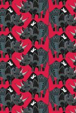 Pomegranate Gift Wrap Sharon Turner Rhinoceros Red