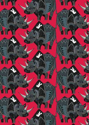 Gift Wrap Sharon Turner Rhinoceros Red