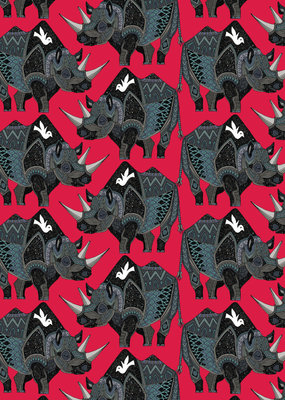 Pomegranate Gift Wrap Sharon Turner Rhinoceros Red