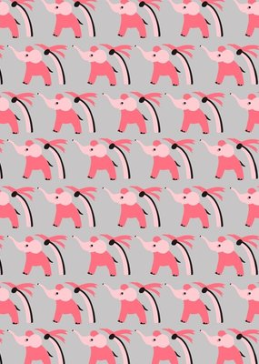 Pomegranate Gift Wrap Pink Elephants