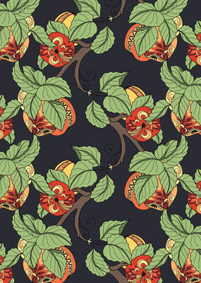 Pomegranate Gift Wrap Fanciful Fruit