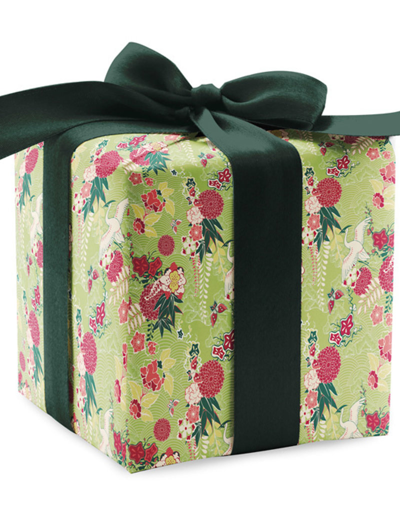 Pomegranate Gift Wrap Cranes & Chrysanthemums