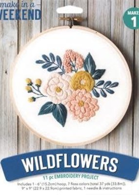 Leisure Arts Mini Maker Embroidery Kit Wildflowers