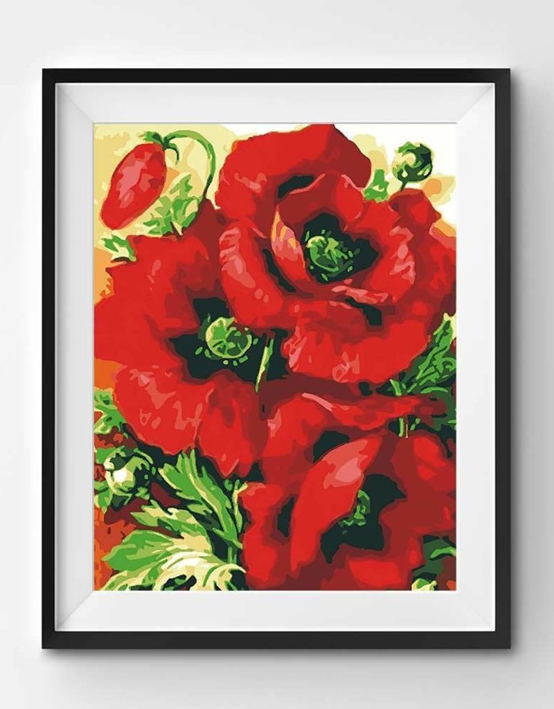 Winnie's Picks Paint by Number Beautiful Red Poppies